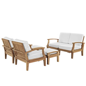 Marina 6 Piece Outdoor Patio Teak Sofa Set in Natural White