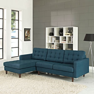 Empress Left-Facing Upholstered Sectional Sofa in Azure
