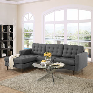 Empress Left-Facing Upholstered Sectional Sofa in Gray