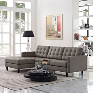Empress Left-Facing Upholstered Sectional Sofa in Granite