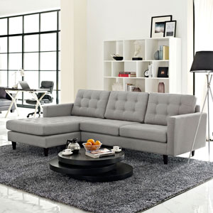 Empress Left-Facing Upholstered Sectional Sofa in Light Gray