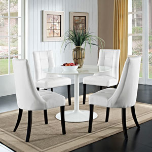 Noblesse Vinyl Dining Chair Set of 4 in White