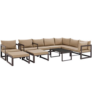 Fortuna 10 Piece Brown and Mocha Outdoor Patio Sectional Sofa Set