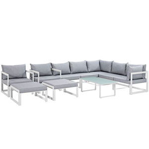 Fortuna 10 Piece White and Gray Outdoor Patio Sectional Sofa Set