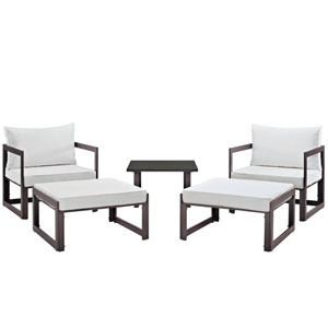 Fortuna 5 Piece Brown and White Outdoor Patio Sectional Sofa Set