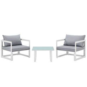 Fortuna 3 Piece White and Gray Outdoor Patio Sectional Sofa Set