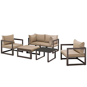 Fortuna 6 Piece Brown and Mocha Outdoor Patio Sectional Sofa Set