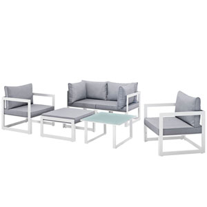 Fortuna 6 Piece White and Gray Outdoor Patio Sectional Sofa Set