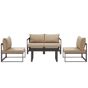 Fortuna 5 Piece Brown and Mocha Outdoor Patio Sectional Sofa Set