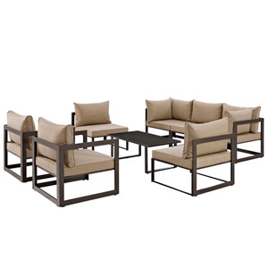 Fortuna 8 Piece Brown Outdoor Patio Sectional Sofa Set