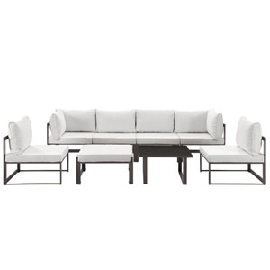 Fortuna 8 Piece Brown and White Outdoor Patio Sectional Sofa Set