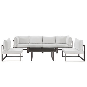 Fortuna 7 Piece Brown and White Outdoor Patio Sectional Sofa Set