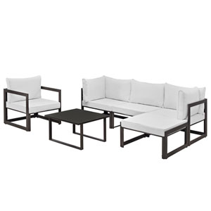 Fortuna 6 Piece Brown and White Outdoor Patio Sectional Sofa Set
