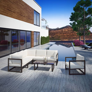 Fortuna 7 Piece Outdoor Patio Sectional Sofa Set in Brown White