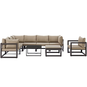 Fortuna 9 Piece Brown and Mocha Outdoor Patio Sectional Sofa Set