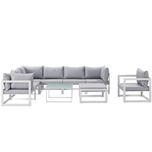 Fortuna 9 Piece White and Gray Outdoor Patio Sectional Sofa Set
