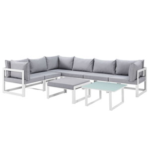Fortuna 8 Piece White and Gray Outdoor Patio Sectional Sofa Set