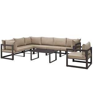 Fortuna 8 Piece Brown and Mocha Outdoor Patio Sectional Sofa Set