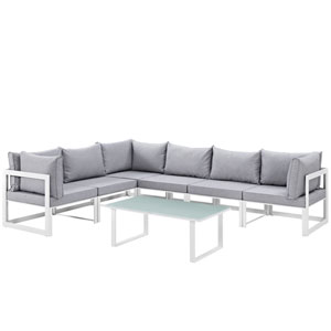 Fortuna 7 Piece White and Gray Outdoor Patio Sectional Sofa Set