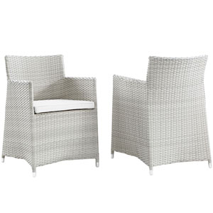 Junction Armchair Gray and White WickerArmchair, Set of 2