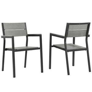 Maine Dining Armchair Outdoor Patio Set of 2 in Brown Gray