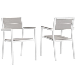 Maine White and Gray Armchair, Set of 2