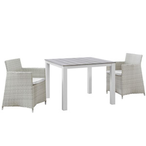 Junction 3 Piece Gray and White Outdoor Patio Wicker Dining Set