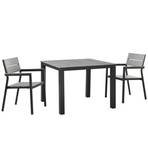 Maine 3 Piece Outdoor Patio Dining Set in Brown Gray