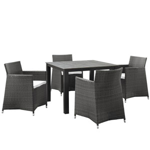 Junction 5 Piece Brown and White Outdoor Patio Dining Set
