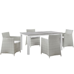 Junction 5 Piece Gray and White Outdoor Patio Dining Set