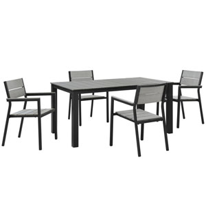 Maine 5 Piece Brown and Gray Outdoor Patio Dining Set