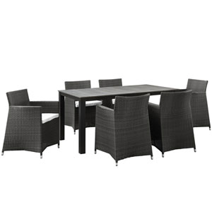 Junction 7 Piece Brown and White Outdoor Patio Dining Set