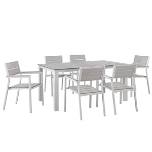 Maine 7 Piece White and Gray Outdoor Patio Dining Set