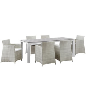 Junction 7 Piece Gray and White Outdoor Patio Dining Set