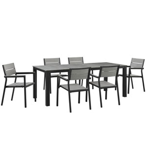Maine 7 Piece Brown and Gray Outdoor Patio Dining Set