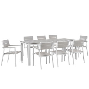 Maine 9 Piece White and Gray Outdoor Patio Dining Set