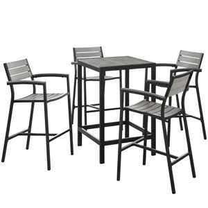 Maine 5 Piece Brown and Gray Outdoor Patio Bar Set