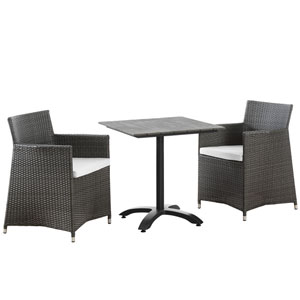 Junction 3 Piece Brown and White Outdoor Patio Dining Set