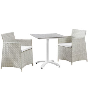 Junction 3 Piece Gray and White Outdoor Patio Dining Set