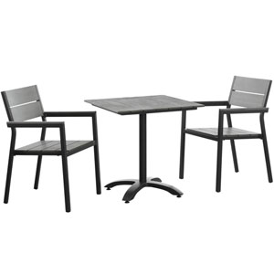 Maine 3 Piece Brown and Gray Outdoor Patio Dining Set