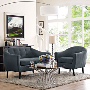 Wit 2 Piece Living Room Set in Gray