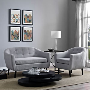 Wit 2 Piece Living Room Set in Light Gray