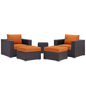 Convene 5 Piece Espresso and Orange Outdoor Patio Sectional Set