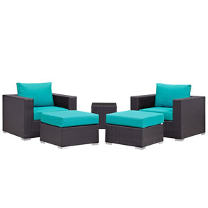 Convene 5 Piece Espresso and Turquoise Outdoor Patio Sectional Set