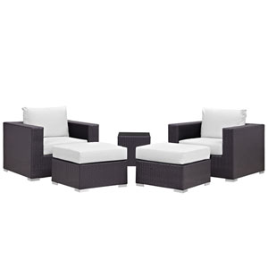 Convene 5 Piece Espresso and White Outdoor Patio Sectional Set