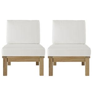 Marina 2 Piece Natural and White Outdoor Patio Teak Sofa Set