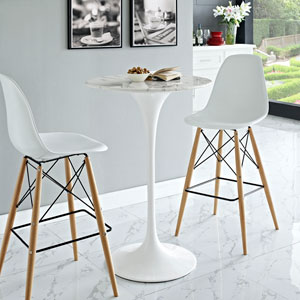 Lippa 28-inch Artificial Marble Bar Table in White
