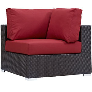 Convene Outdoor Patio Corner in Espresso Red