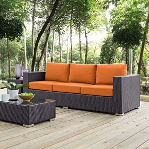 Convene Outdoor Patio Sofa in Espresso Orange