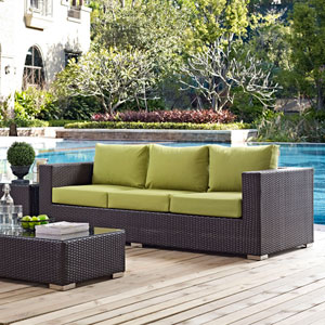 Convene Outdoor Patio Sofa in Espresso Peridot